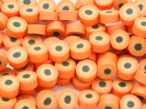 Orange w/Sunflower Polymer Clay Round Beads 10mm (CL198)