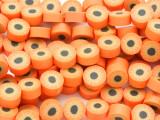 Orange w/Sunflower Polymer Clay Round Beads 10mm (CL198)