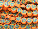 Orange w/Flowers Polymer Clay Round Beads 10mm (CL200)