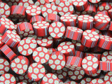 Red w/Daisies & Stripes Polymer Clay Round Beads 10mm (CL203)
