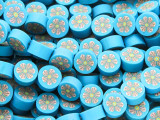 Blue w/Pink Flower Polymer Clay Round Beads 10mm (CL206)