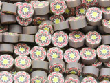 Mauve w/Pink & Yellow Flower Polymer Clay Round Beads 10mm (CL207)