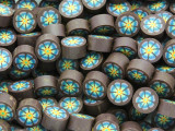 Purple w/Blue Flower Polymer Clay Round Beads 10mm (CL209)