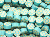 Blue w/Daisies Polymer Clay Round Beads 10mm (CL212)