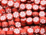 Red w/Pink Flower Polymer Clay Round Beads 10mm (CL213)
