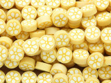 Yellow w/White Flower Polymer Clay Round Beads 10mm (CL216)