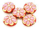 Red w/Pink & Yellow Flower Polymer Clay Oval Beads 30mm (CL217)