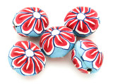 Blue w/Red & White Flower Polymer Clay Round Beads 25mm (CL218)