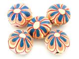 Pink w/Orange & Blue Flower Polymer Clay Round Beads 25mm (CL219)