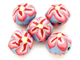 Lavender w/Pink Flower Polymer Clay Round Beads 25mm (CL220)