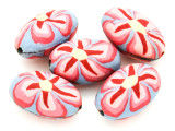 Lavender w/Pink Flower Polymer Clay Oval Beads 30mm (CL221)