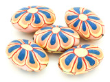 Pink w/Orange & Blue Flower Polymer Clay Oval Beads 30mm (CL223)