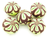 Green w/Brown & Yellow Flower Polymer Clay Round Beads 25mm (CL224)