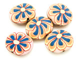 Pink w/Orange & Blue Flower Polymer Clay Oval Beads 30mm (CL225)