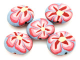 Lavender w/Pink Flower Polymer Clay Oval Beads 30mm (CL226)