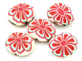 Tan w/Red Flower Polymer Clay Oval Beads 30mm (CL227)
