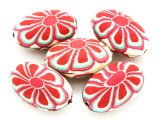 Tan w/Red Flower Polymer Clay Oval Beads 30mm (CL228)