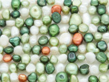 Mixed Green & White Irregular Pearl Beads 4-10mm (PRL166)