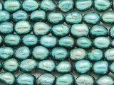 Teal Irregular Oval Pearl Beads 12mm - Large Hole (PRL171)