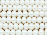 Ivory Rondelle Pearl Beads 10mm - Large Hole (PRL188)