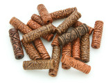 Ceramic Carved Tube Beads 20mm - Peru (CER72)