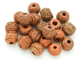 Ceramic Carved Round Beads 16mm - Peru (CER73)
