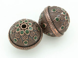 Large Copper & Green Enamel Bead 30mm (MB39)