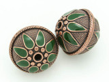 Large Copper & Green Enamel Bead 28mm (MB40)