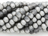 Matte Gray & Silver Crystal Glass Beads 8mm (CRY253)