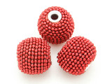 Metallic Red Ceramic & Metal Bead 18mm (CM84)