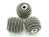 Metallic Silver Ceramic & Metal Bead 18mm (CM85)