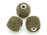 Metallic Khaki Ceramic & Metal Bead 18mm (CM86)