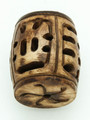 Brown Carved Barrel Bone Pendant 32mm (AP1876)