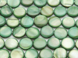 Green Round Tabular Shell Beads 11mm (SH523)