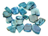 Blue Agate Slab Gemstone Beads 27-50mm (AS802)