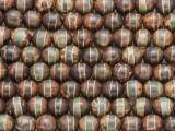 Dark Green Tibetan Agate Round Gemstone Beads 8mm (GS3997)