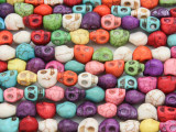 Multi-Color Magnesite Skull Gemstone Beads 7mm (GS3998)