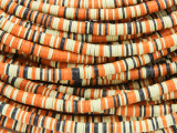 Yellow, Orange & Black Vinyl Disc Beads 3-4mm (VY208)