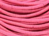Pink Vinyl Disc Beads 3-4mm (VY210)