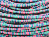 Pink, Green & Blue Vinyl Disc Beads 2-3mm (VY215)
