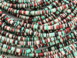 Red, Ivory, Green & Black Vinyl Disc Beads 2-3mm (VY217)