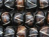 Large Brown Carved Bone Beads 20-23mm (BA7025)