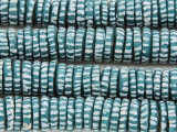 Teal w/Stripes Disc Sandcast Glass Beads 11-15mm (SC981)