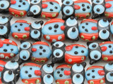 Red & Blue Owl Lampwork Glass Beads 20mm (LW1574)