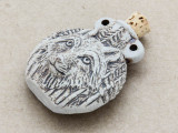 Forest Wolf Ceramic Cork Bottle Pendant 44mm (AP1880)