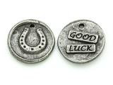 Good Luck - Pewter Wax Seal Charm 19mm (PW855)