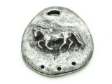 Horse 3-Strand Connector - Pewter Pendant 34mm (PW858)