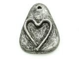 Rounded Triangle w/Heart - Pewter Pendant 34mm (PW865)