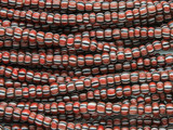 Red Brown w/Black & White Stripes Glass Trade Beads 4-5mm - Africa (AT7193)