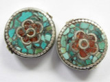 Turquoise, Coral & Silver Flower Tibetan Bead 22mm (TB216)